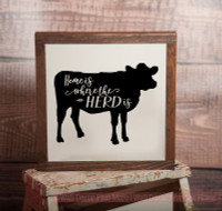 Framed Wood Home is Where the Herd is Wood Sign Metal with Quote, Hanging Wall Art, 3 Sign Choices-Black