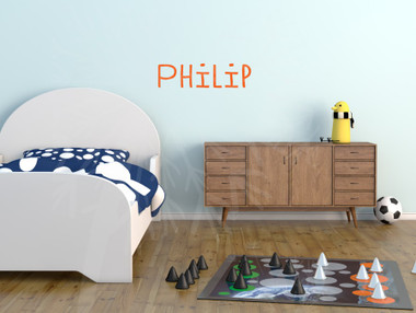 Philip in Cuciniere font Wall Name Decal Orange