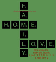 Family Home Love Scrabble Tile Layout Words Wall Sticker