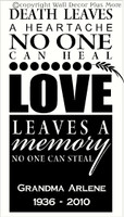 Love leaves a memory no one can steal Memorial Wall Sticker Quote personalized