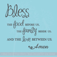 Bless Food, Family, Love Wall Sticker Quote Large 30x30 size