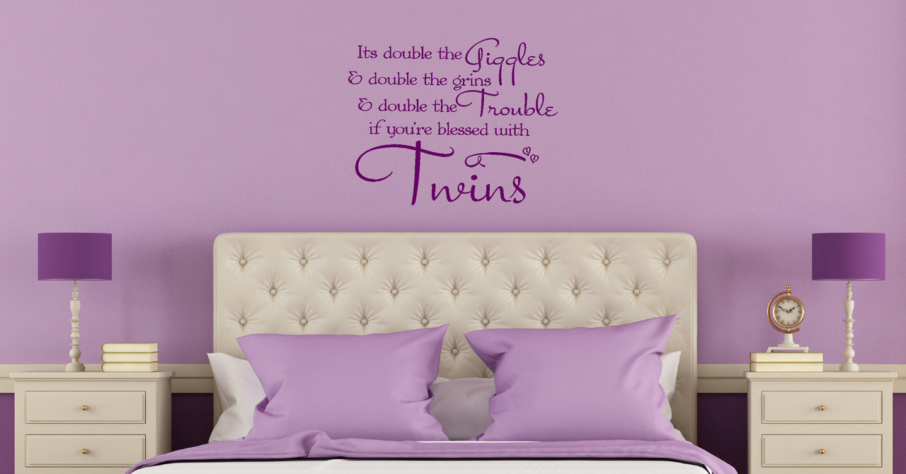 Double the giggles double the grins twin wall sticker decal loading zoom amipublicfo Image collections