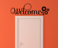 Welcome Wall Sticker Vinyl Decal Wall Letters with Flowers Black