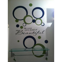 Two Color Package Circle Ring Dots Wall Decal Stickers Shapes Olive Deep Blue