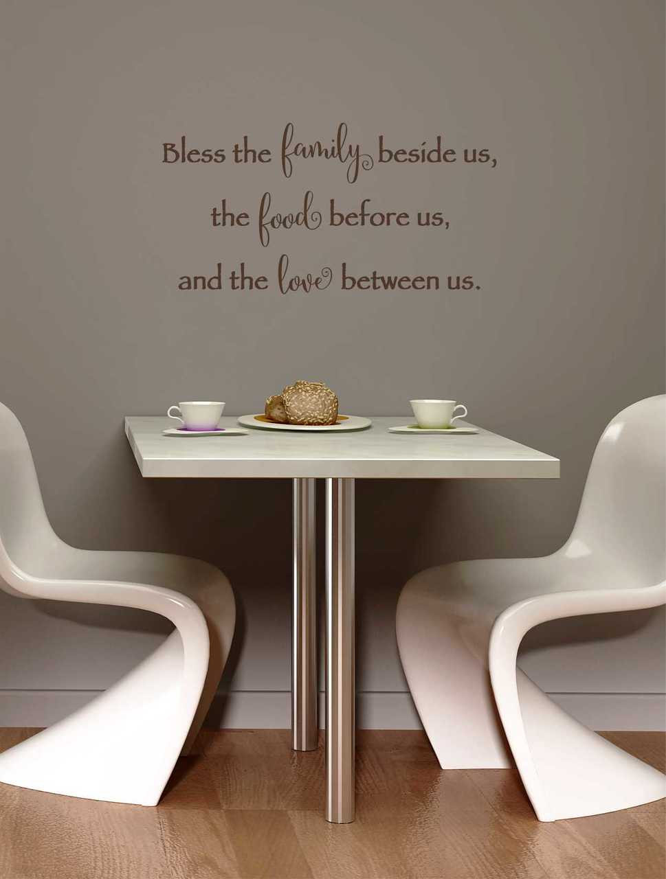Bless family food and love kitchen wall decal quote bless family food and love wall decal quote chocolate brown loading zoom amipublicfo Choice Image