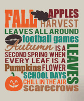 Fall Subway Art Vinyl Decal Seasonal Decor Sign