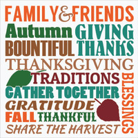Fall Family & Friends Gather Vinyl Decal Thanksgiving Autumn Wall Art