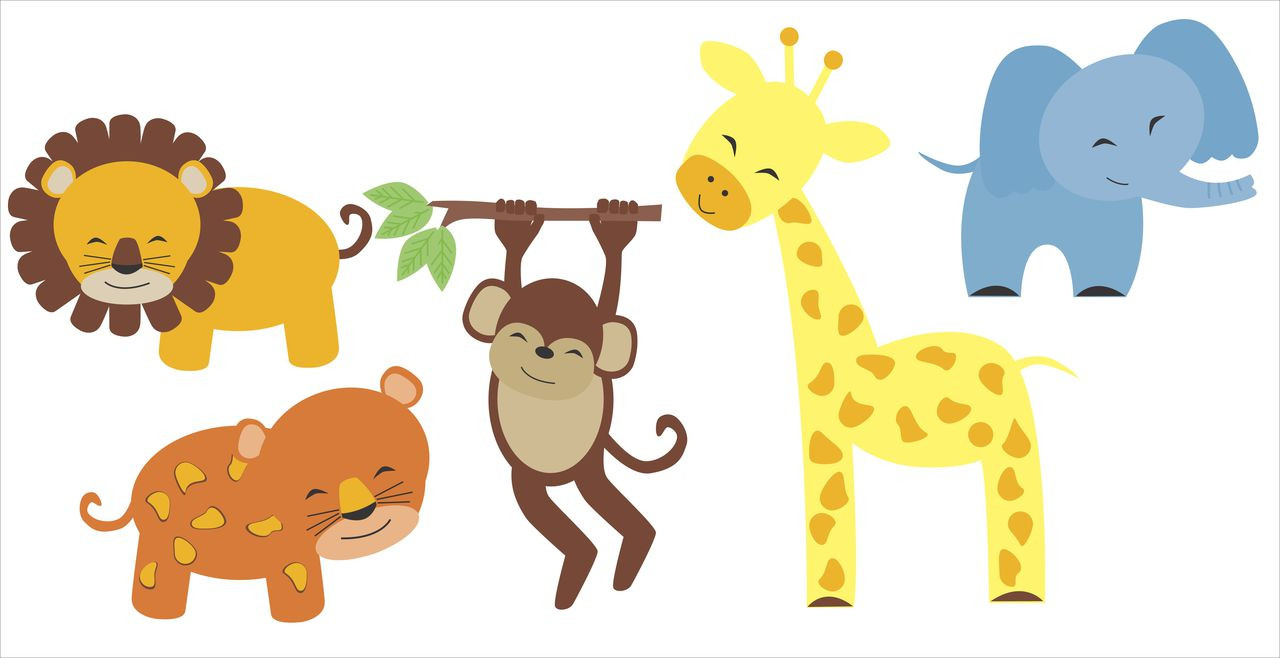 Nursery Wall Decal Set Jungle Animals Elephant, Lion, Giraffe, Monkey  Stickers. Loading Zoom