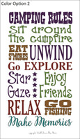 Camping Rules Vinyl Decal Saying Option 2 for the Camper or RV Decor