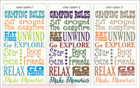 Camping Rules Subway Art Printed Vinyl Decal Camper Quotes Phrases