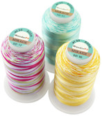 Mirage Rayon Thread 30 wt multi-color rayon. Mirage is random dyed with unusual contrasting tones. Ideal for quilting, decorative stitches, embroidery and thread painting. Available in 40 colors in 874yd (800m) spools