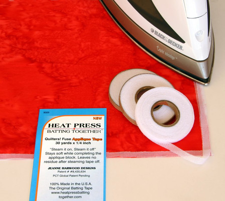 1/4 Inch Heat Press Batting Together, Applique Tape
