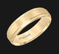 6mm Yellow Tungsten Carbide Satin Finish Flat Center with Bright Step Edge Comfort Fit Men's Wedding Band