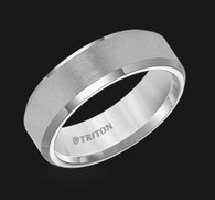 7mm Gray Tungsten Carbide Bevel Edge Comfort Fit Band with Satin Center Finish