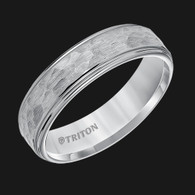 6mm Gray Tungsten Carbide Step Edge Comfort Fit Band with Satin Hammer Texture