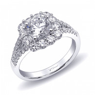 Cushion Halo Split-Shank Engagement Ring Setting (0.92ctw)