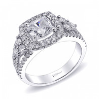 Cushion Halo Wide Engagement Ring Setting (0.99ctw)