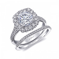 Cushion Halo Split-Shank Engagement Ring Setting (0.60ctw) with matching Wedding Band