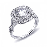 Cushion Double Halo Braided Shank Engagement Ring Setting (0.82ctw)