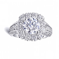 Cushion Halo Bold Three Row Engagement Ring Setting (1.85ctw)