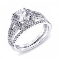Unique Halo Split-Shank Engagement Ring Setting (0.33ctw) with matching Wedding Band