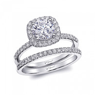 Cushion Halo Engagement Ring Setting (0.30ctw) with matching Wedding Band