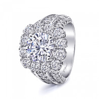 Cushion Halo Bold Three Row Engagement Ring Setting (2.74ctw)