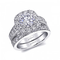 Cushion Halo Milgrain Engagement Ring Setting (1.17ctw) with matching Wedding Band