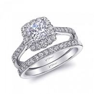 Cushion Halo Milgrain Engagement Ring Setting (0.35ctw) with matching Wedding Band