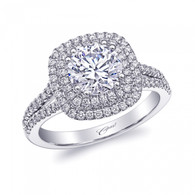 Cushion Double Halo Split-Shank Engagement Ring Setting (0.46ctw)