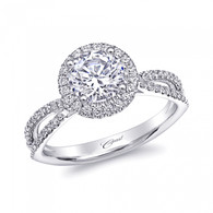 Round Halo Split-Shank Engagement Ring Setting (0.34ctw)