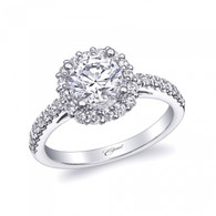 Cushion Halo Engagement Ring Setting (0.47ctw)
