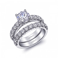 Fishtail Engagement Ring Setting (0.74ctw) with matching Wedding Band