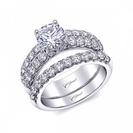 Fishtail Double Row Engagement Ring Setting (0.90ctw) with matching Wedding Band