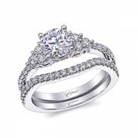 Three Stone Sides Engagement Ring Setting (0.41ctw) with matching Wedding Band