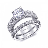 Fishtail Double Row Engagement Ring Setting (1.08ctw) with matching Wedding Band