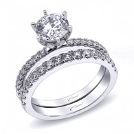 Fishtail Engagement Ring Setting (0.20ctw) with matching Wedding Band