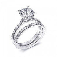 Fishtail Engagement Ring Setting (0.15ctw) with matching Wedding Band