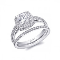 Cushion Double Halo Micro Pave Engagement Ring Setting (0.38ctw) with matching Wedding Band