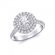 Round Double Halo Engagement Ring Setting (0.54ctw)