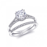 Unique Round Halo Split-Shank Engagement Ring Setting (0.19ctw) with matching Wedding Band
