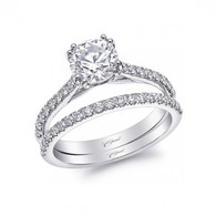 Fishtail Engagement Ring Setting (0.25ctw) with matching Wedding Band