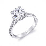 Unique Round Halo Engagement Ring Setting (0.47ctw)