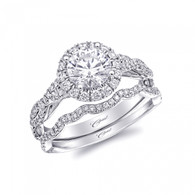 Round Halo Braided Engagement Ring Setting (0.39ctw) with matching Wedding Band