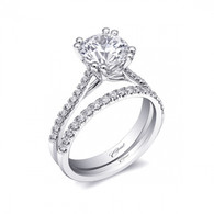 Fishtail Engagement Ring Setting (0.13ctw) with matching Wedding Band