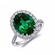 6.47ct Oval Green Tourmaline Centerstone Signature Color Collection Diamond Ring