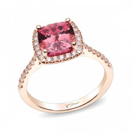 1.86ct Cushion Cut Pink Tourmaline Centerstone Signature Color Collection Diamond Ring