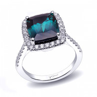 5.45ct Cushion Cut Indicolite Centerstone Signature Color Collection Diamond Ring