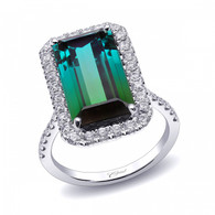 6.85ct Emerald Cut Green Tourmaline Centerstone Signature Color Collection Diamond Ring
