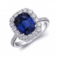 3.55ct Cushion Cut Sapphire Centerstone Signature Color Collection Diamond Ring